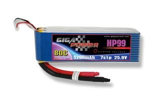 GP5200HP7S GP5200HP7S (short wire) 25,9V 5200mAh 7Cell 80C continui 120C picco