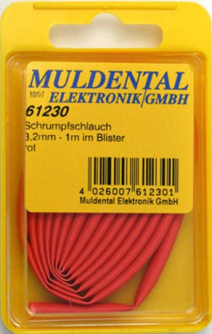 Termoretraibile, red, 3,2 mm, ratio: 2:1, 1 m CW61230