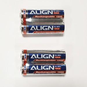 N.4 Batterie Align AA NI-MH ricaricabile 1,2 volt 1600 mAh